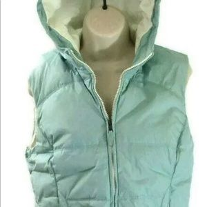Express womens hooded puffer down Baby Blue vest